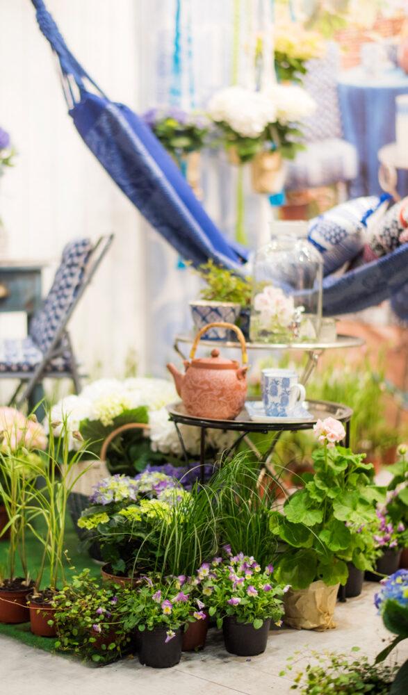 Balkong med hortensia